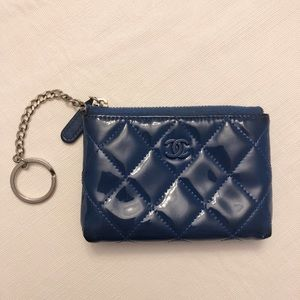 Chanel zip card case in blue patent leather